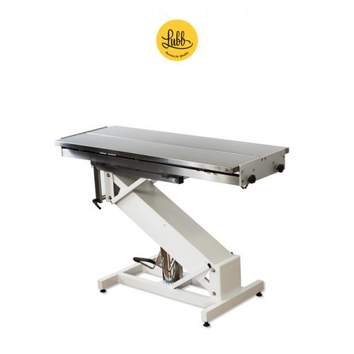 Hydraulic surgery table with lacquered iron Z structure and stainless steel V top