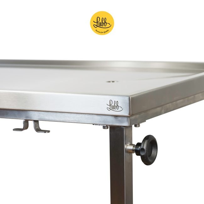 Veterinary height-adjustable stainless steel demountable surgery table - top detail