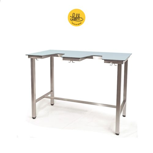 Demountable ecocardio table with HPL on compact laminate top
