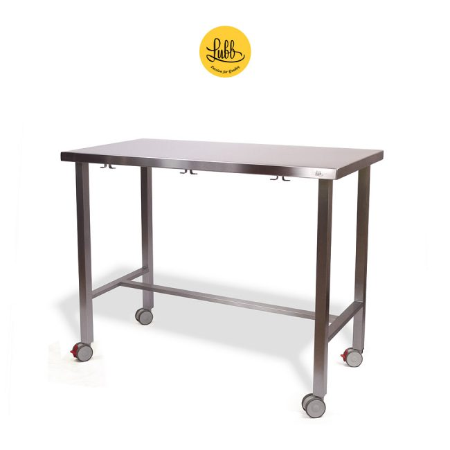 Demountable examination table with wheels