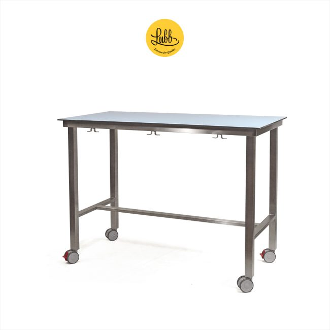 Demountable veterinary examination table with HPL on compact laminate top and wheels