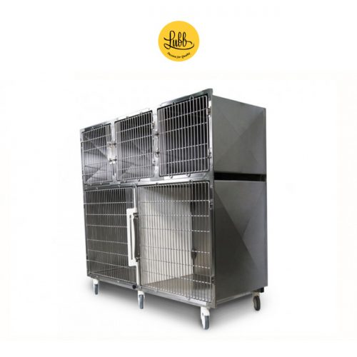 Lubb's 180cm wide stainless steel cage bank with 4 cages