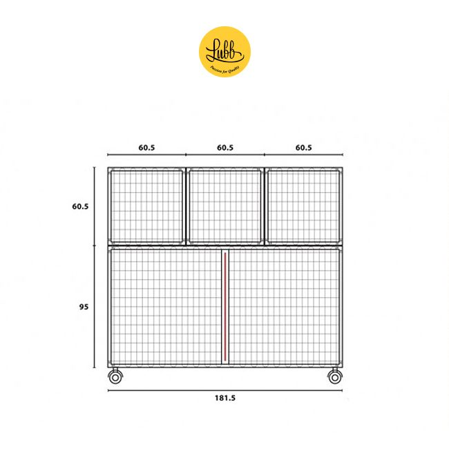 Lubb's 180cm wide stainless steel cage bank with 5 cages - drawing