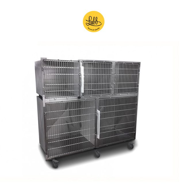 Lubb's 180cm wide stainless steel cage bank with 3 cages