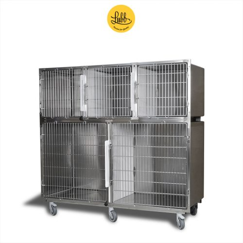 180cm wide veterinary stainless steel cage bank with 2 cages