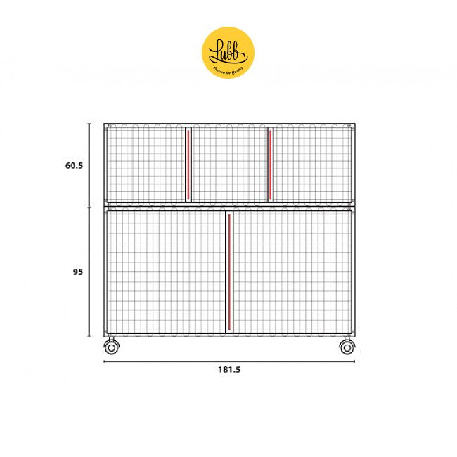 180cm wide veterinary stainless steel cage bank with 2 cages - dimensions drawing