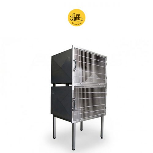 Lubb's 90cm wide stainless steel veterinary cage bank with 2 cages