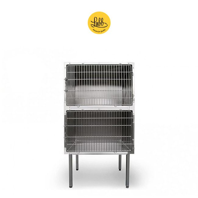 Lubb's 90cm wide stainless steel veterinary cage bank with 2 cages - frontal view