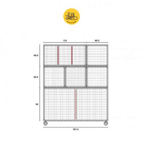 180cm wide stainless steel cage bank with 6 cages - dimensions drawing