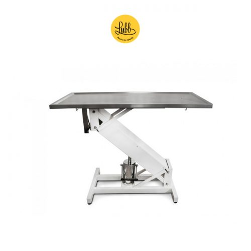 Hydraulic surgery table with lacquered iron Z structure and stainless steel flat top
