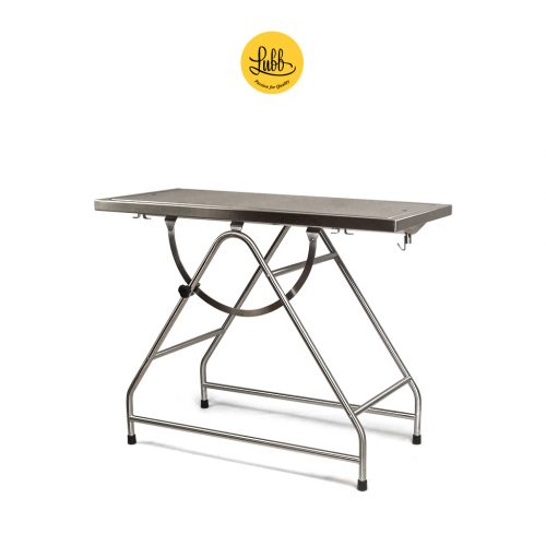 Stainless steel tilting surgery table with removable top and lateral hooks