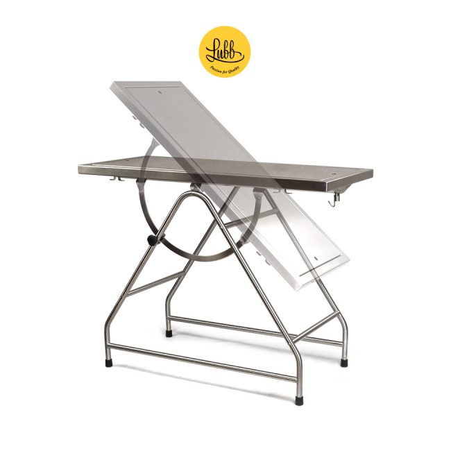 Tilting stainless steel surgery table with removable top and lateral hooks