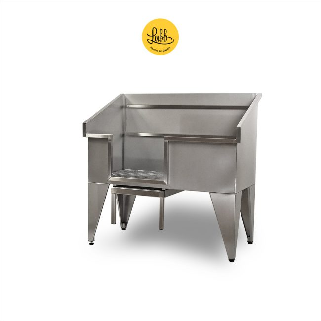 Stainless steel grooming bathtub with ramp and guillotine door