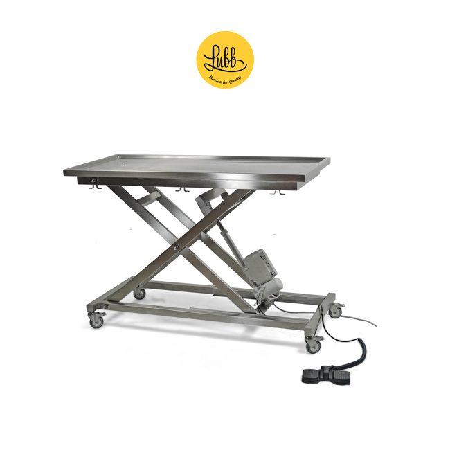Electric surgery table with height-adjustable X structure and flat top