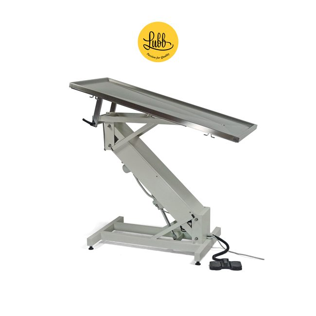 Electric surgery table with lacquered iron Z structure and flat stainless steel top