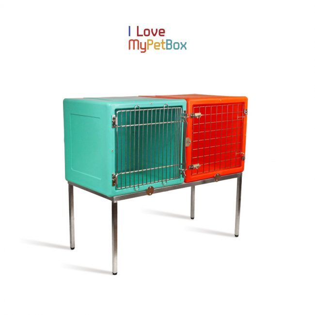 ILoveMyPetBox - Base with 4 feet for 2 cages side by side - shown with cages