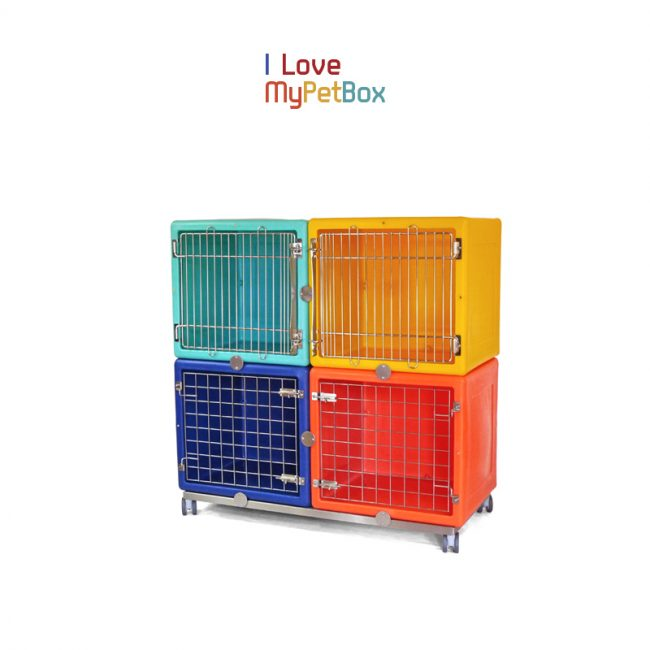 ILoveMyPetBox - Base with 4 wheels for 2 cages side by side - shown with cages