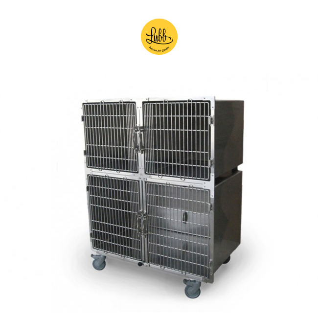 Stainless steel veterinary cage bank with 3 cages