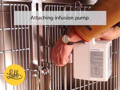 "Video - ""Veterinary stainless steel cages – Oxygenation Door"" is locked Veterinary stainless steel cages – Infusion Pump Support"
